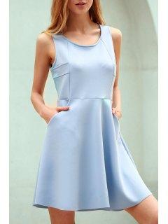La Luz Azul Hueco Con Cuello Redondo Sin Mangas Vestido De Tirantes - Azul Claro S