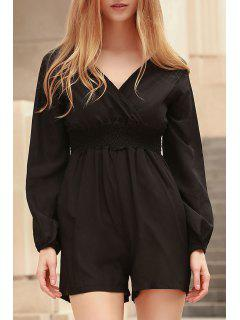 Solid Color Plunging Neck Long Sleeves Romper - Black 2xl
