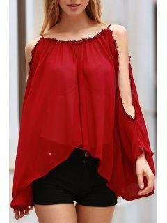 Blusa Con Costuras Empalmadas De Encaje De Pestañas - Rojo 2xl