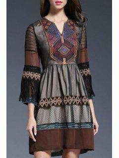 Sheer Sleeve Embroidered Ethnic Dress - Coffee L