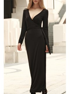 Self Tie Plunging Neck Long Sleeve Maxi Dress - Black S