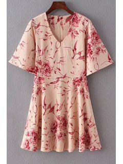 Floral V Neck Half Sleeve Flare Dress - L