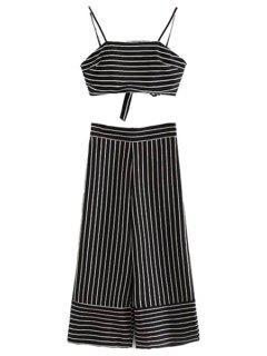 Striped Cami Crop Top And Wide Leg Capri Pants Suit - Black L