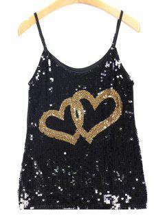 Patrón De Lentejuelas Doble Del Corazón Cami Camisetas Sin Mangas - Dorado