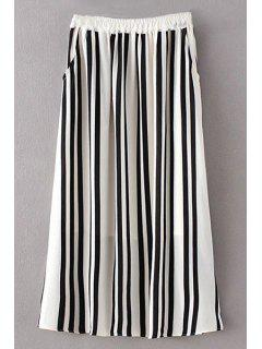 Stripe High Waist A Line Skirt - White And Black S