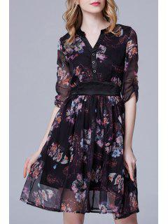 Floral Print V Neck Half Sleeve Dress - Black Xl