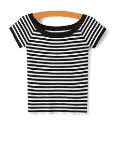 Slash Neck Striped Knit T-Shirt - Black S