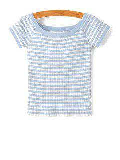 Slash Neck Striped Knit T-Shirt - Light Blue M