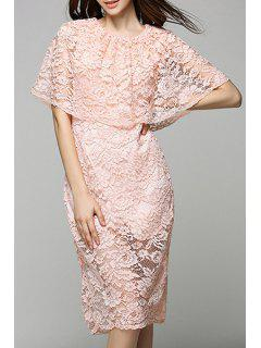 Lace Round Neck Solid Color Dress - Pink Xl