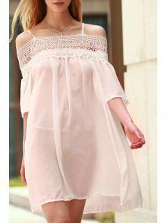 Lace Splicing Boat Neck Spaghetti Straps Dress - Shallow Pink Xl