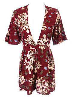Floral Plunging Neck Short Sleeve Romper - Red Xl