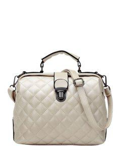 Checked Stitching Push Lock Tote Bag - Off-white