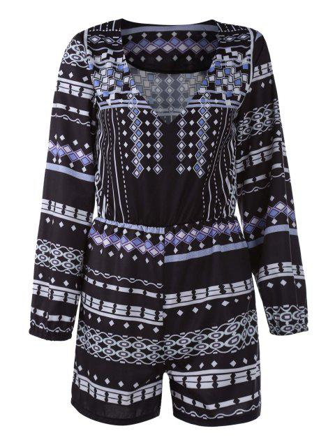 hot 3/4 Sleeve Printed Playsuit - BLACK M Mobile