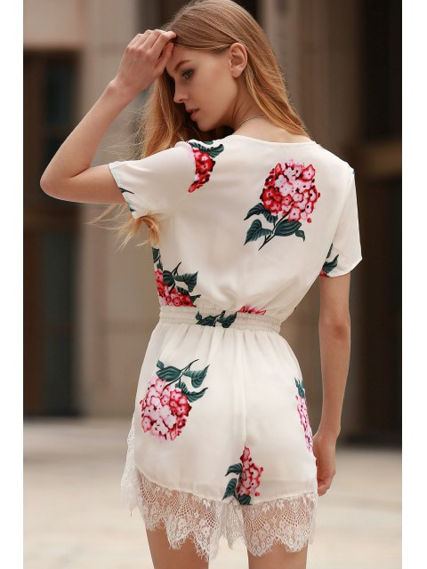 buy Floral Print Plunging Neck Short Sleeve Romper - WHITE S Mobile