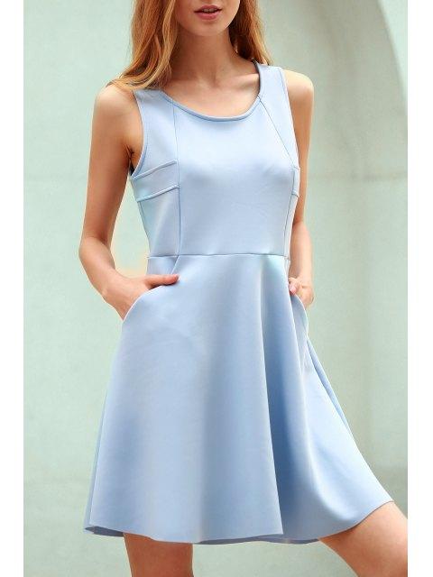Robe débardeur ajourée en bleu clair à col rond sans manches - Bleu clair L Mobile