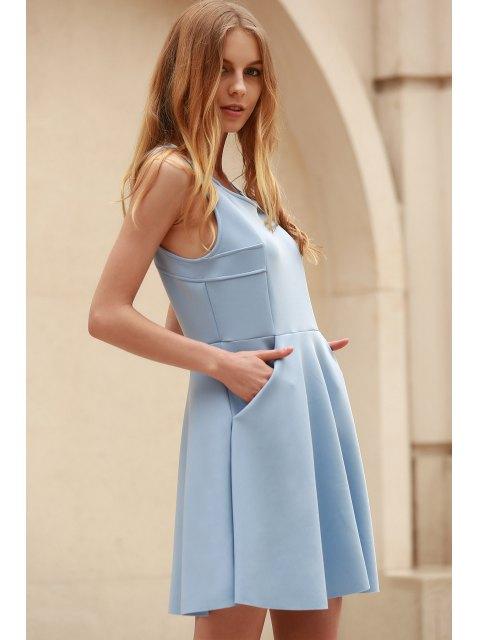 sale Light Blue Hollow Scoop Neck Sleeveless Sundress - LIGHT BLUE S Mobile