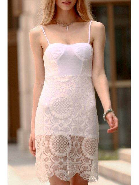 hot Lace Slip Bodycon Prom Dress - WHITE S Mobile