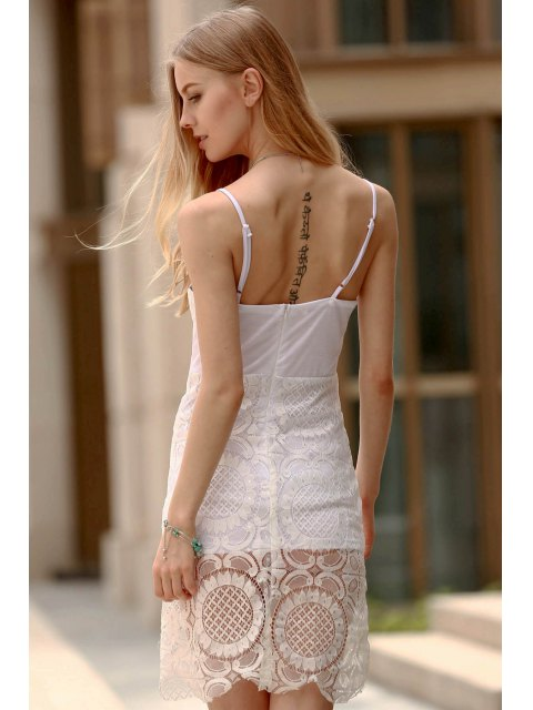 shop Lace Slip Bodycon Dress - WHITE L Mobile