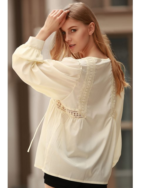 White Lace Up Jewel Neck Blouse à manches longues - Citron M Mobile