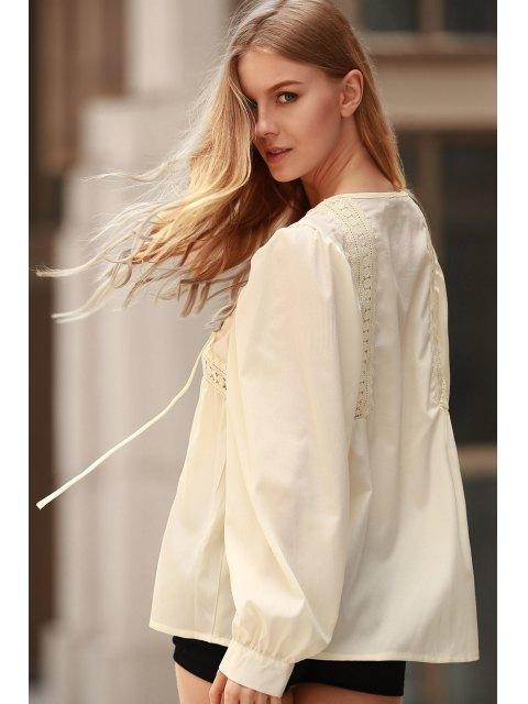White Lace Up Jewel Neck Blouse à manches longues - Citron M Mobile