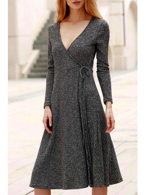 Pure Color Plongeant manches Long Neck Midi Dress - Gris 2XL Mobile