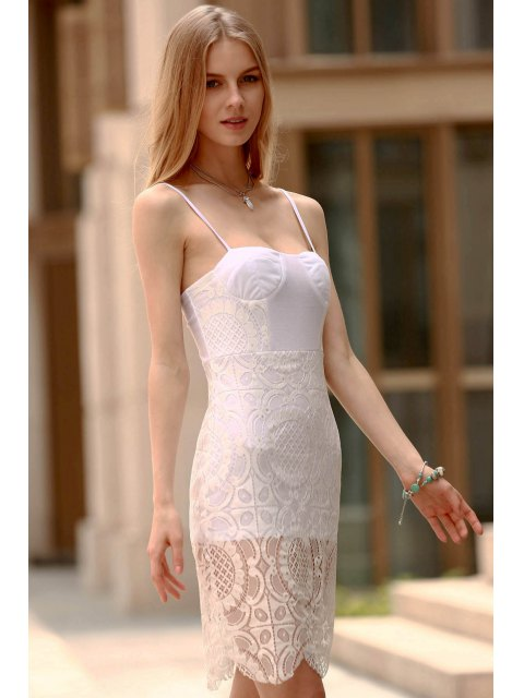 shop Lace Slip Bodycon Prom Dress - WHITE L Mobile