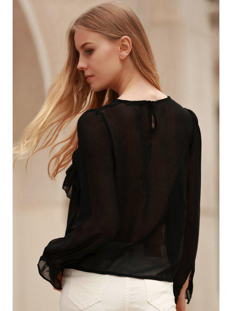 online Bowknot Embellished See-Through Blouse - BLACK L Mobile