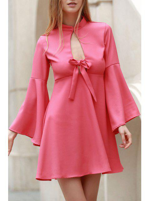 lady Flare Sleeve Cutout Swing Dress - PINK M Mobile