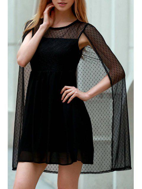 new Voile Shawl Round Neck Sleeveless Dress - BLACK M Mobile