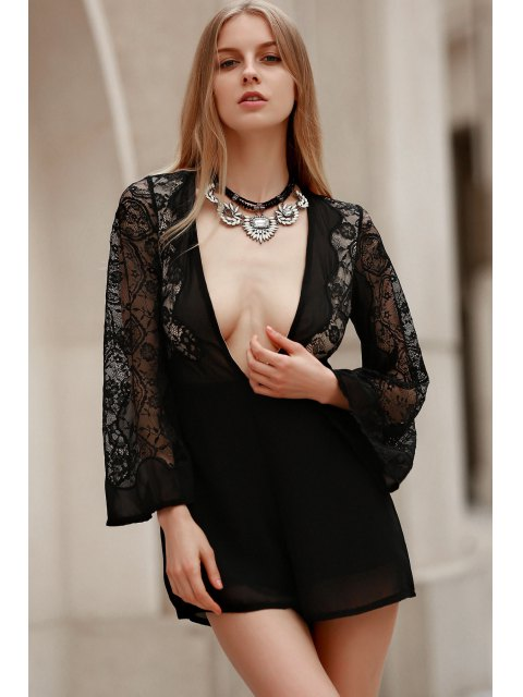 shop Plunging Neck Combined Lace Romper With Neck Bow - BLACK S Mobile