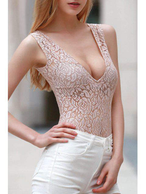 latest Plunge Skinny Cut Out Lace Bodysuit - YELLOWISH PINK 2XL Mobile