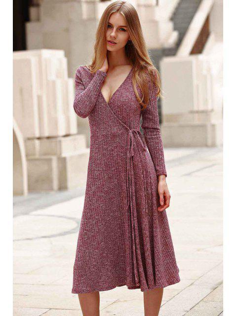 shops Low Cut Long Sleeve Midi Dress - CLARET S Mobile