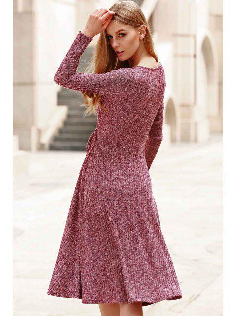 chic Low Cut Long Sleeve Midi Dress - CLARET 2XL Mobile