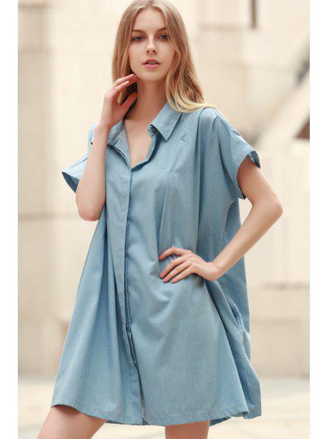 trendy Loose Retro Turn-Down Collar Short Sleeve Dress - LIGHT BLUE S Mobile