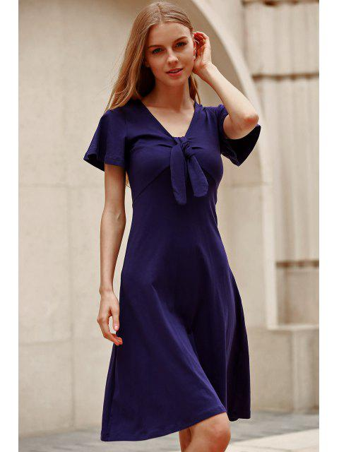 fashion Solid Color Plunging Neck Short Sleeve Midi Dress - NAVY BLUE L Mobile
