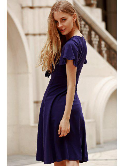 trendy Solid Color Plunging Neck Short Sleeve Midi Dress - NAVY BLUE M Mobile