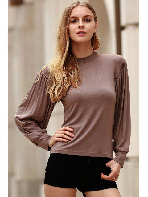 lady Khaki Stand Neck Long Sleeve T-Shirt - KHAKI S Mobile