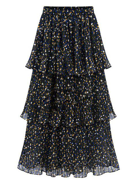 women's Pleated Tiny Flower Print A Line Skirt - COLORMIX M Mobile