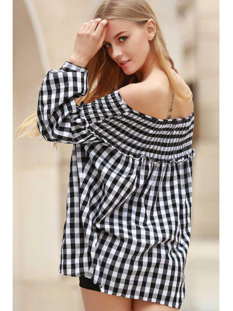 ladies Plaid Pleated Scoop Neck Long Sleeve Blouse - WHITE AND BLACK S Mobile