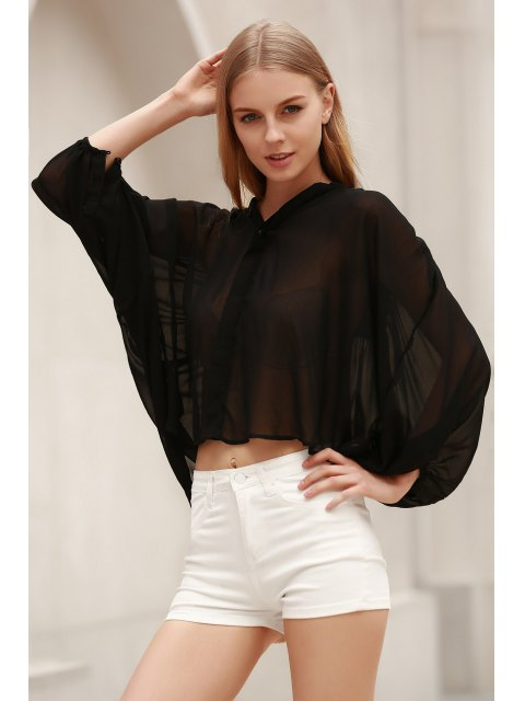 lady Black Stand Neck Half Sleeve See-Through Blouse - BLACK XL Mobile