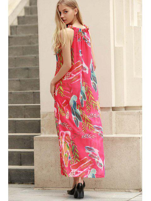 new Flower Print Round Neck Sleeveless Chiffon Dress - RED XL Mobile