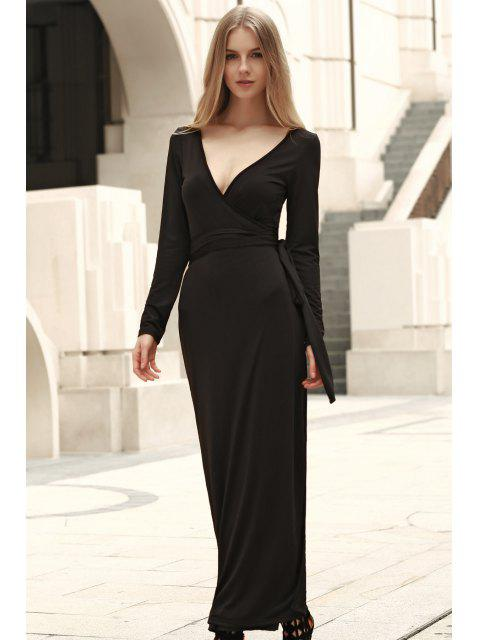 chic Self Tie Plunging Neck Long Sleeve Maxi Dress - BLACK S Mobile