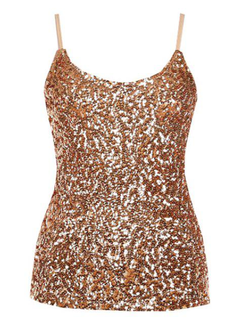 unique Sequin Solid Color Spaghetti Straps Tank Top - GOLDEN ONE SIZE(FIT SIZE XS TO M) Mobile