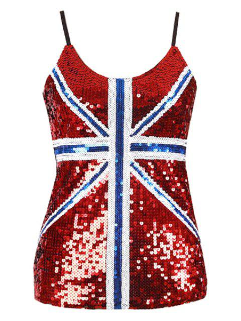 Sequin Loose Color Block Spaghetti Straps Tank Top - Rot Einheitsgröße(Geeign Mobile
