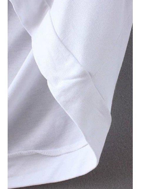 fancy Letter Print U Neck Short Sleeve T-Shirt - WHITE M Mobile