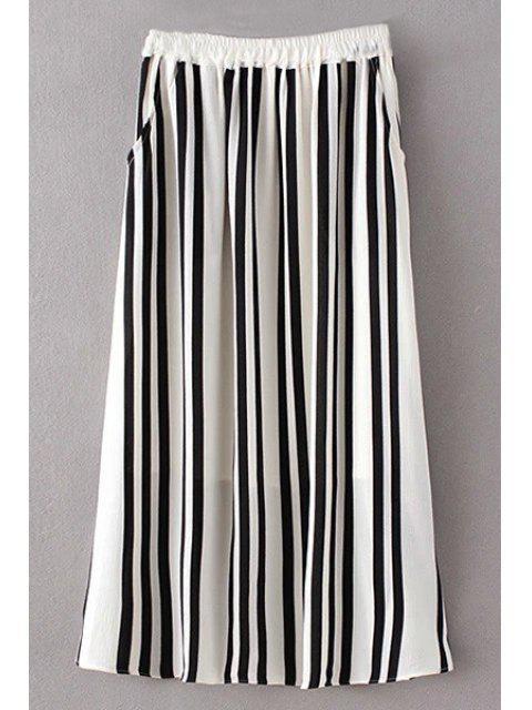 buy Stripe High Waist A Line Skirt - WHITE AND BLACK S Mobile