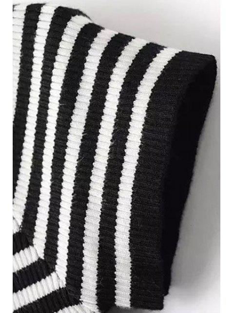 trendy Slash Neck Striped Knit T-Shirt - BLACK S Mobile
