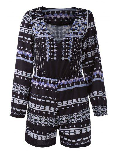 3/4 Sleeve Printed Playsuit - Black L