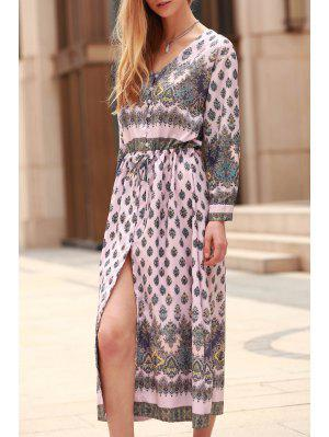 Rolled Sleeve Printed Single-Breasted Dress - Pink M