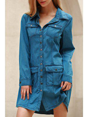 Denim Blue Turn Down Neck robe à manches longues